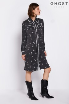 Ghost London Black Harriet Printed Dress