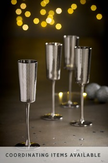 Beaumont Metallic Set of 4 Flute Glasses
