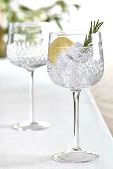 Albany Embossed Set of 2 Gin Glasses