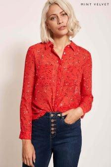 Mint Velvet Red Sarah Red Print Shirt