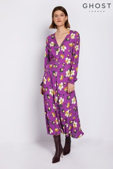Ghost London Purple Laura Printed Floral Dress