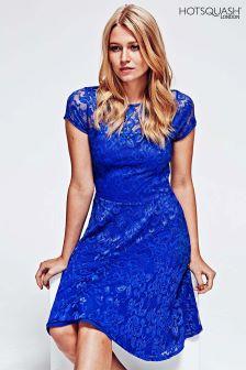 HotSquash Royal Blue Lace Fit N' Flare Dress