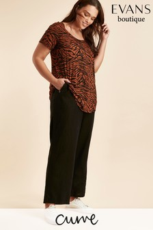 Evans Curve Black Linen Blend Trouser