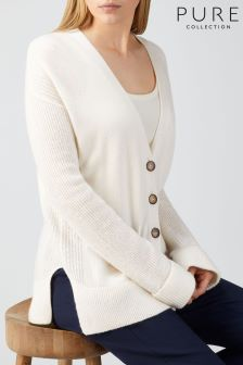 Pure Collection Soft White Toccato Rib Sleeve Cardigan