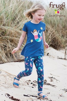 Frugi Organic Soft Navy Mermaid Printed Legging