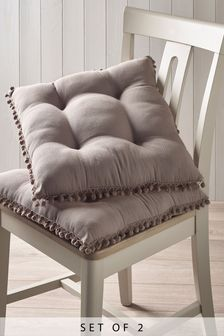 Set of 2 Pom Pom Seat Pads