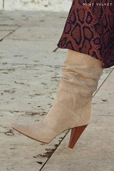 Mint Velvet Sand Kara Suede Slouch Boot