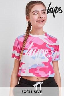 Hype. Pink Camo Crop Tee