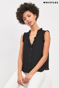 Whistles Black Emily Frill Top
