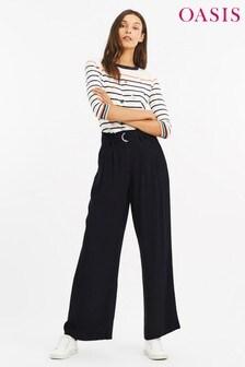 Oasis Navy Fluid D-Ring Trouser
