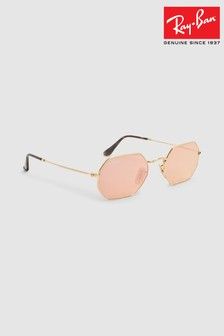 Ray-Ban® Gold Octagonal Sunglasses