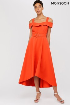 Monsoon Ladies Orange Consuela Cross Neck Dress