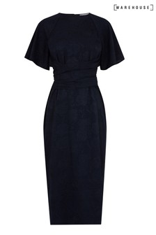 Warehouse Navy Satin Jacquard Tie Front Dress