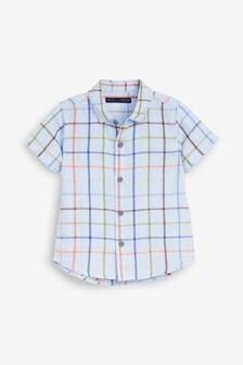 Рубашка из смеси льна с коротким рукавом (3 мес.-7 лет)