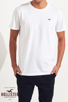 Hollister White Short Sleeve Logo Crew