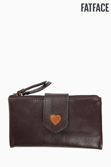FatFace Brown Heart Fold Over Purse