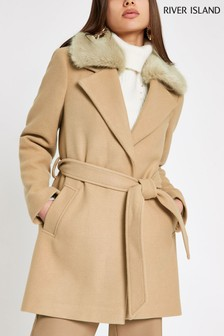 River Island Camel Short Tie Waist Faux Fur Jacket
