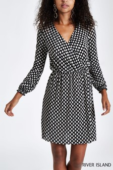 River Island Black Spot Plissé Dress