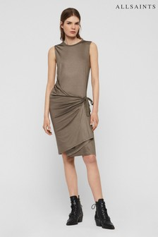 AllSaints Khaki Wrap Lisen Dress