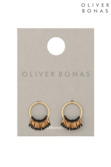 Oliver Bonas Gold Tone Maera Round Stud Loop Fan Drop Earrings