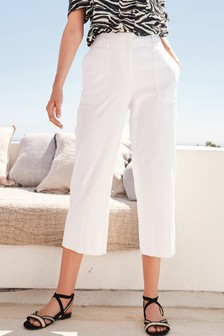 Twill Wide Crop Trousers