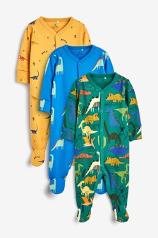 3 Pack Dino Character Sleepsuits (0mths-2yrs)