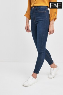 F&F Indigo High Waist Denim Tube Jean