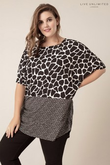 Live Unlimited Black Cocoon Jersey Top With Contrast Hem