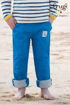 Frugi Blue Lined Trouser With Roll Up Leg And Ribbed Waist