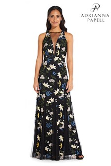 Adrianna Papell Blue/Yellow Multi Sequin Embroidery Dress