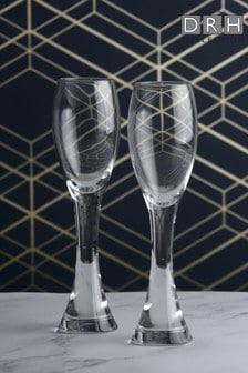 Set of 2 The DRH Collection Anton Studio Designs Manhattan Champagne Flutes