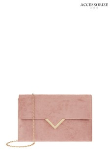 Accessorize Pink Natalie Envelope Clutch Bag