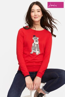 Joules Red Terrier Intarsia Jumper