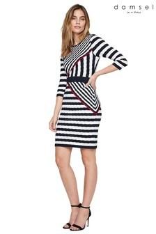 Damsel In A Dress Black Orianne Stripe Knitted Dress