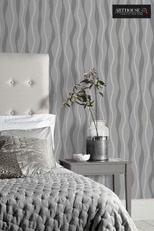 Arthouse Grey Metallic Wave Wallpaper