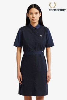 Fred Perry Navy Belted Shirt Dress