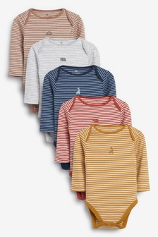 5 Pack Stripe Long Sleeve Bodysuits (0mths-2yrs)
