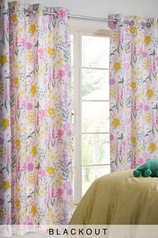 Pastel Floral Blackout Eyelet Curtains