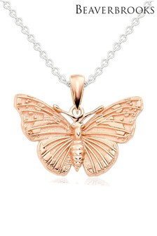 Beaverbrooks Silver/Rose Gold Plated Butterfly Pendant