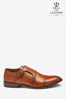 Toe Cap Leather Monk Shoes