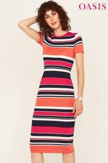 Oasis Stripe Colour Clash Tube Dress