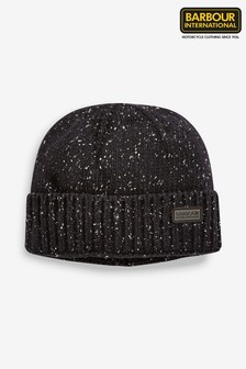 Barbour® International Black Spoiler Knit Beanie