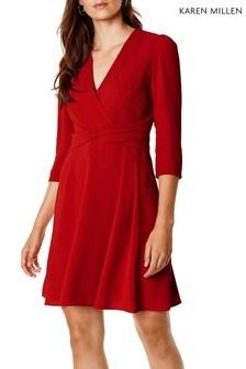 Karen Millen Red Folded Crepe Day Dress