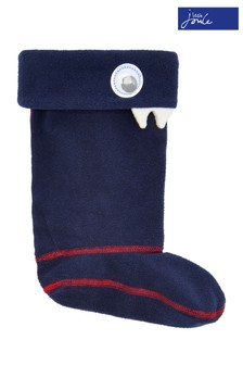 Joules French Blue Smile Boys Character Welly Socks