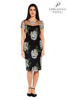 Adrianna Papell Black Hydrangea Embroidery Sheath Dress