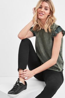 Superdry Khaki Ruffle Top