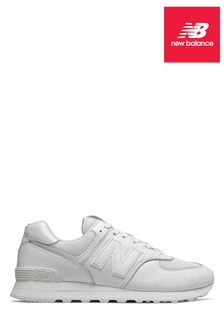 New Balance White Leather 574 Trainer