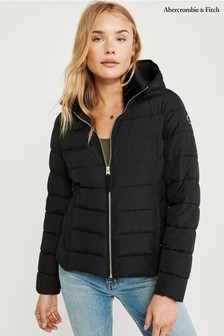 Abercrombie & Fitch Black Hooded Padded Jacket