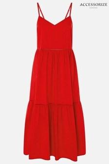 Accessorize Red Poplin Tiered Maxi Dress