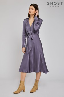 Ghost London Grey Meryl Hydrangea Satin Dress